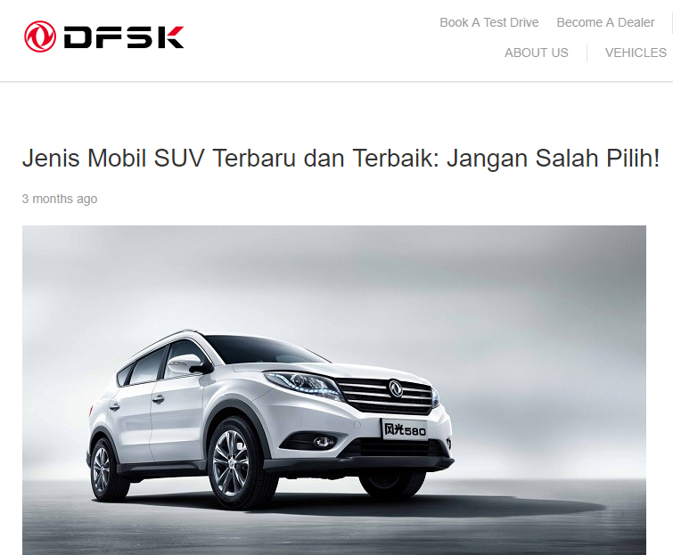 Desain Mobil SUV DFSK Glory